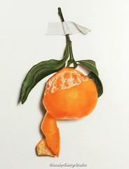 Peeling off the Wall (JocelynDesignStudio) Tags: coloredpencil coloredpencilart mandarin orange drawing