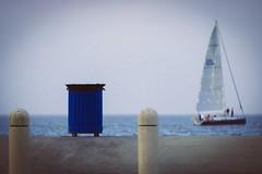 Trash Can and Sailboat - My view at the lake.....  72/365