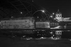 Reflets (Aphélie) Tags: paris city night bw black white bridge seine reflection