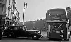 Its 1952 and a Police Car and Bus Meet in London. (ManOfYorkshire) Tags: aec rt regent3 bus london transport doubledecker londonbus police car 1952 lyf317 rt2592 nostalgia history meet parkroyal bodywork bw route36