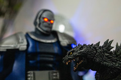 New God and Godzilla (misterperturbed) Tags: dccomics darkseid godzilla jackkirby justiceleague mezco mezcoone12collective one12collective shmonsterarts