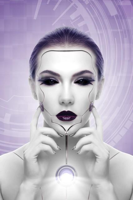 Обои киборг, робот, девушка, лицо, футуризм картинки на рабочий стол, фото скачать бесплатно