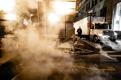 Hell, just beneath the surface. (wwward0) Tags: cc construction fidi manhattan night nyc outdoor sidewalk steam street truck walking wwward0