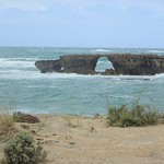 Robe South Australia. Small rock stack and arch by Cape Dombey at the entrance to Guichen Bay and the historic town of Robe. thumbnail