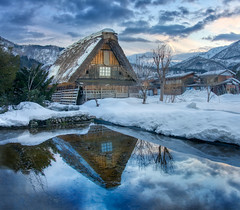 My Favorite Image from Shirakawa-go (Trey Ratcliff) Tags: japan shirakawago stuckincustomscom treyratcliff house thatch farmhouse reflection snow pond water clouds sunset travel hdr hdrtutorial hdrphotography hdrphoto aurorahdr