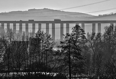 Viaduct (heinrich_511) Tags: snapseed bwincamera tamronafsp45670300mmdivc nikond750 trucks gegenlicht houses river layers moselle mosel light sunshine fog mist cartraffic contraluz winter powerlines monochrome blackandwhite valley contrast backlight viaduct