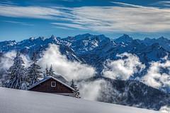 Rigi Scheidegg, Switzerland. (j1985w) Tags: rigi mountains clouds sky switzerland snow building cabin trees