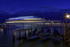 A  cruise ship in Venice (lasse christensen) Tags: dsc6316 italiaitaly gondola gondol cruiseskip cruiseship venice venezia bluehour