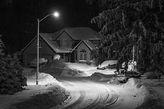 Toasty Warm (Bert CR) Tags: canon40d canon 40d toastywarm blackandwhite blackwhite monochrome blackandwhitephotography winterwonderland winternight cold snow afterthestorm afterdark darkness night nightphotography