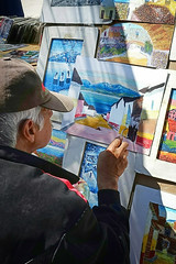 Artist at work (posterboy2007) Tags: ajijic mexico market artist acrylic trowel art wednesdaymarket mexican