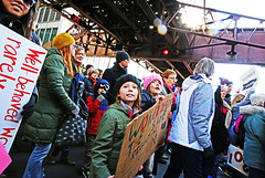 Not My President's Day (kirstiecat) Tags: president notmypresident impeachtrump protest protesters liberal humans democrats americans signs chicago kids girls resist resistfascism poltiics canon street