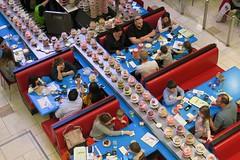 Conveyor Belt Sushi (Mondmann) Tags: restaurant japaneserestaurant sushi conveyorbeltsushi wasabi tysonscorner virginia usa unitedstates america mondmann canonpowershotg7x food seafood japanesefood families highangleview