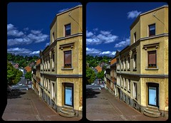 Mylau, Heubnerring 3-D / CrossView / Stereoscopy (Stereotron) Tags: saxony sachsen vogtland mylau deutschland germany europe cross eye view xview crosseye pair free sidebyside sbs kreuzblick bildpaar 3d photo image stereo spatial stereophoto stereophotography stereoscopic stereoscopy stereotron threedimensional stereoview stereophotomaker photography picture raumbild hyperstereo twin canon eos 550d remote control synchron kitlens 1855mm tonemapping hdr hdri raw 100v10f