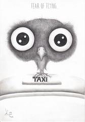Fear of flying. (Klaas van den Burg) Tags: humor absurd pencils coloredpencils grey black taxi fearofflyinf owl beak claws