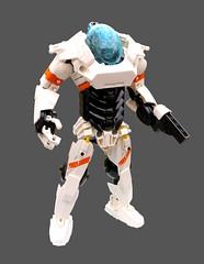 Volans Mk II (Logey Bear) Tags: lego bionicle hero factory mecha space technic ccbs sci fi suit white orange
