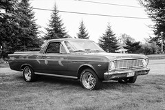 Ford Ranchero (JBAdams) Tags: 1959nikonf 35mmfilm bw fordranchero fujiacros100 maine nikkors502 plustekopticfilm120 automobile availablelight blackandwhite car film manualfocus wwwjonathanbadamscom 50mmf2s