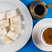 Flat lay above Cup of Coffee with Turkish Delight