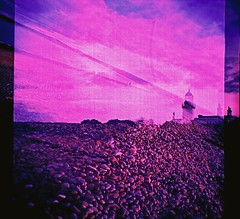 Sky and Shore (Mano Green) Tags: lighthouse sky shore stones coast beach sea double exposure multiple cross process diana mini agfa precisa colour slide 100 35mm film chanonry point fortrose rosemarkie black isle scotland uk spring april 2016