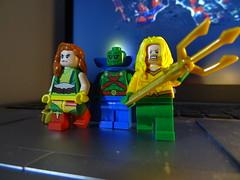 LEGO Aquaman,Hawkgirl and Martian Manhunters (Volt SUDIOS) Tags: aquaman martianmanhunter martian man hunter dc comics hawkgirl trident green orange yellow superheroes