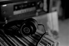 LP's and headphones (Paul Lundberg) Tags: nikonfe2 nikkor50mmf14ais kodaktrix400 kodakd76 plustekopticfilm7300 film 35mm