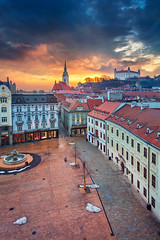 Bratislava. (Rudi1976) Tags: bratislava slovakia city architecture skyline cityscape aerial castle travel twilight sky outdoor town capital traveldestination tourism riverside townsquare dusk urban europe fountain tower europeanunion clouds downtown colorful church famous hotel landmark landscape buildings roof oldtown historical sunset exterior