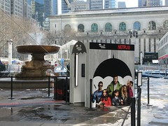 2019 Big Umbrella Academy in Bryant Park NYC 1319 (Brechtbug) Tags: big umbrella bryant park nyc 2019 february 02132019 new york city 6th avenue near 42nd st behind public library midtown manhattan the academy netflix tv series comic book based starting friday 15th bumbershoot umbrellas