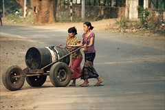Home built vehicle (*Kicki*) Tags: myanmar burma bagan street road dirtroad people vehicle women female candid longyi barrel mandalay pagan thanaka asia countryside rural homebuilt မြန်မာ transport traffic