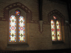 Two Non-Figurative Stained Glass Windows by Ferguson and Urie along the Northern Aisle of the Former Saint George's Presbyterian Church - Chapel Street, St Kilda East (raaen99) Tags: fergusonandurie fergusonanduriestainedglass fergusonurie fergusonuriestainedglass floral flower blue red green yellow glass victorianstainedglass quarryglass leadlight leadlightglass diaperpattern pattern nineteenthcenturystainedglass 1880 1880s floralpattern saintgeorgespresbyterianchurch saintgeorgesunitingchurch saintgeorgeschurch saintgeorgesstkildaeast saintgeorgeseaststkilda stgeorgespresbyterianchurch stgeorgesunitingchurch stgeorgeschurch stgeorgesstkildaeast stgeorgeseaststkilda unitingchurch presbyterianchurch presbyterian eaststkilda stkildaeast chapelstreet chapelst church placeofworship religion religiousbuilding religious melbourne nineteenthcentury victorian victoriana 19thcentury victoria australia gothicrevivalarchitecture gothicarchitecture gothicrevivalchurch gothicchurch gothicbuilding gothicrevivalbuilding ecclesiastical gothicrevivalstyle gothicstyle architecturallydesigned albertpurchas architecture building window stainedglass stainedglasswindow lancet lancetwindow star starpattern detail