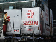 IMG_4454 (Brechtbug) Tags: shazam billboard 42nd street new captain marvel the big red cheese poster ad nyc 2019 times square movie billboards york city work working worker paint painting advertisement dc comic comics hero superhero alien dark knight bat adventure national periodicals publication book character near broadway shield s insignia blue forty second st fortysecond 03232019 lightning flight flying march