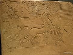 Amenhotep II relief, Luxor Museum (2).JPG (tobeytravels) Tags: thebes egypt stela basreliefamenhotep iixviii dynastykarnakred granite chariot