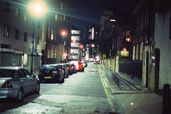 Henriques Street (goodfella2459) Tags: nikonf4 afnikkor50mmf14dlens cinestill800t 35mm c41 film night analog colour london eastend whitechapel henriquesstreet bernerstreet elizabethstride jacktheripper history crimehistory light manilovefilm