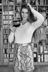 Kornelia (piotr_szymanek) Tags: kornelia korneliaw woman young skinny face portrait studio blackandwhite library eyesoncamera longhair mini skirt 20f 1k 5k 50f 100f 10k 20k 30k