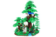 CCC XVI: Forestmen Hideout (-soccerkid6) Tags: lego moc creation forest hideout lair landscape woods tree trees water waterfall stream river bridge treehouse forestmen irregular base build model