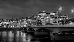 Mystère de la nuit (Armelle85) Tags: extérieur nature paysage ville fleuve pont architecture monochrome noir et blanc