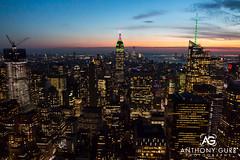 Manhattan at Sunset, New York City, USA (AnthonyGurr) Tags: newyork newyorkcity nyc thebigapple america usa unitedstates sunset cityview cityscape skyline night lowlight citynightlights anthonygurr manhattan city