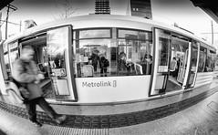 Metrolink, Media City (Mick Phillips Photography) Tags: manchester media city salford bw black white mono monochrome tram metrolink quays street candid