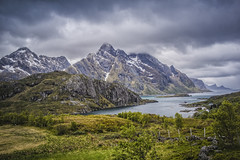 view on Böstad (Wim van de Meerendonk, loving nature) Tags: böstad norway lofoten mountainscape clouds cloud fjord landscape mountain nature outdoors outdoor panorama rock rocks sony sky scenic snow valley wimvandem water grass mountainside ustad abigfave