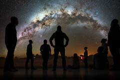 Deep Space 8K: The Milky Way (Robert Bauernhansl) Tags: milkyway deepspace8k arselectronicacenter arselectronica linz austria upperaustria oberösterreich österreich silhouette milchstrase astronomie besucherinnen visitors people leute menschen looking watching schauen astronomy panorama