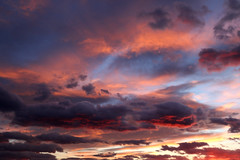 Day 408 (material grrrl) Tags: 365 sky sunset clouds cloudscape goldenhour vibrant color pink blue yellow red orange