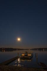 _LCH7440 Party Barge Supermoon, Lake Beaverfork, Conway Arkansas (snolic...linda) Tags: fujixt2 501 arkansas conway supermoon lakebeaverfork partybarge oldboat evening bluehour sunset