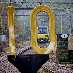 Tight Fit (whosoever2) Tags: uk united kingdom gb great britain england nikon d7100 train railway railroad april 2019 northern speed limit sign class323 323227 glossop derbyshire hadfield manchester piccadilly