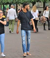 IMG_4274 (Skinny Guy Lover) Tags: outdoor people candid guy man male dude walking jeans bluejeans slippers flipflips slender slim lean beard shortbeard rippedjeans tornjeans belt