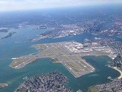 Boston Logan: High, East. (Khao Soi Boy) Tags: boston logan bostonloganairport airport cbd aerialview city bos windowseat airplane iphone5 arrival