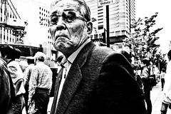 Osaka Portrait (Victor Borst) Tags: street streetphotography streetlife reallife real realpeople asia asian asians faces face candid travel travelling trip traveling urban urbanroots urbanjungle osaka japan japanese fuji fujifilm xpro2 expression old man mono monotone monochrome mankind happyplanet asiafavorites