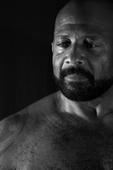 IMG_4263 LEROI (WORLD OF FMR) Tags: thought noir noiretblanc blackandwhite black monochrome bearded muscle chest greeneyes canon photography lips eyes look friend shooting