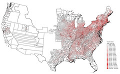U.S. Population Density by County, 1860 (Pythaglio) Tags: 1860 map census populationdensity ipums qgis counties
