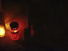 the longest night (jesuiselouise) Tags: analog film 35mm minoltasrt100x lomography400 cemetery graveyard light candle night dark fire