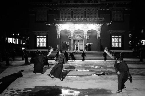 Danses des moines au Shechen Monastery, certainement des répétitions sans costumes pour le Losar (nouvel an Tibétain).