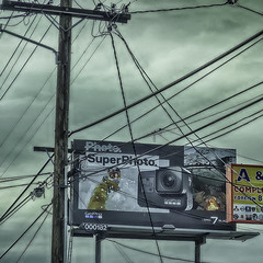 A Super Photo Opportunity Ruined (Steve Mitchell Gallery) Tags: signs billboards photoop photoopportunity super wires sky ruined spoiled badshot street