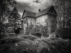 the bad place.... (BillsExplorations) Tags: abandoned abandonedhouse abandonedillinois bad forgotten neglected decay ruraldecay blackandwhite dark mainstreet haunted shuttered oncewashome monochromemonday monochrome
